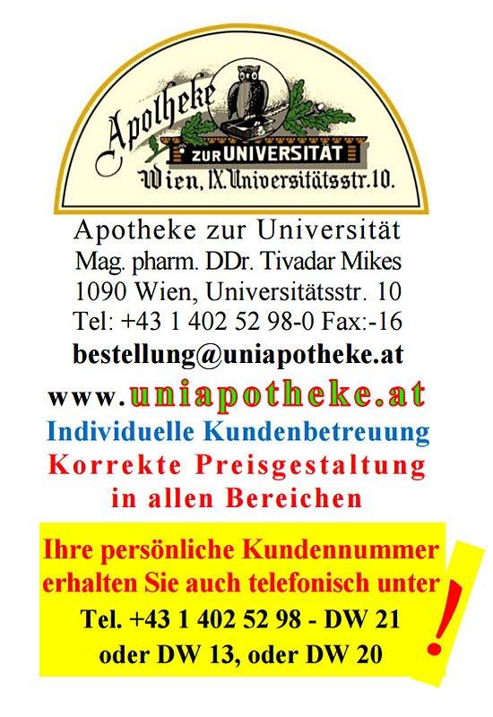 Visitenkarte Apotheke Zur Universität Wien